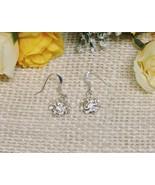 .925 Sterling Silver 925 Flower Dangle Charm Earrings Free Shipping Natu... - $9.85