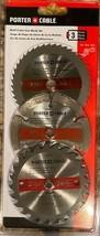 "PORTER CABLE PC338MULTI 3pc 3.5"" Circular Multi-Cutter Saw Blade Set Woo... - $8.91"