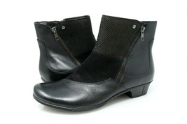 Earth Orion Ankle Boots Womens 12 B Black Leather Side Zip Low Heel Bootie - €45,68 EUR