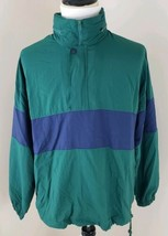 Fremantle Size Large Green Lightweight 1/4 Zip Colorblock Vintage Jacket... - $28.49