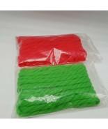 Red Green Yarn Tye Tie Bow pom pom Christmas Lot 2 Hair - $11.00
