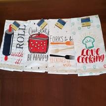 FLOUR SACK KITCHEN TEA TOWELS, Set of 4, Printed Cooking Designs Sayings, Cotton image 1