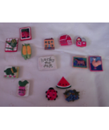 13 Farm Theme Button Covers and 1 Watermelon Pin - Lot 1 - $12.00