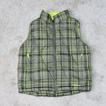 LL Bean Down Puffer Vest Youth S Small Brown Yellow Plaid Sherpa Fleece ... - $24.95