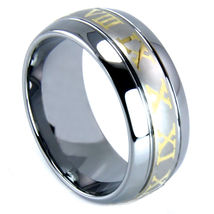 Ladies or Men's 8mm Tungsten Band with Roman Numerals - $54.99