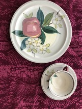 Redwing Pottery Normandy 3 pc Place Setting Dinner Plate Cup Saucer VG c... - $27.99