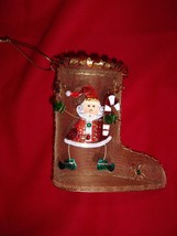 GOLD TONE MESH CHRISTMAS/HOLIDAY BOOT DECORATED WITH PAINTED METAL SANTA... - $4.00