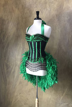 Pick Size-Green & Black Victorian Lace Moulin Burlesque Carnival Feather... - $149.99