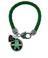 Holly Road Lymphoma Green Leather Bracelet Jewelry Choose Your Text - $19.79