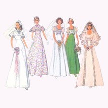 Vintage Simplicity Sewing Pattern 6940 Misses Wedding Dress Cape Collar ... - $14.95