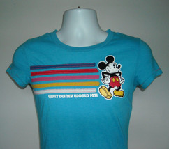 Womens Juniors Walt Disney World 1971 t shirt XSmall turquoise Mickey Mouse - $21.73