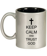 11oz Ceramic Coffee Tea Mug Glass Cup Keep Calm and Trust God Cross - $14.99