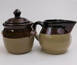 Stoneware Creamer and Sugar Bowl Set Tricolor Striped 3 Tone Glazed Beig... - $29.70
