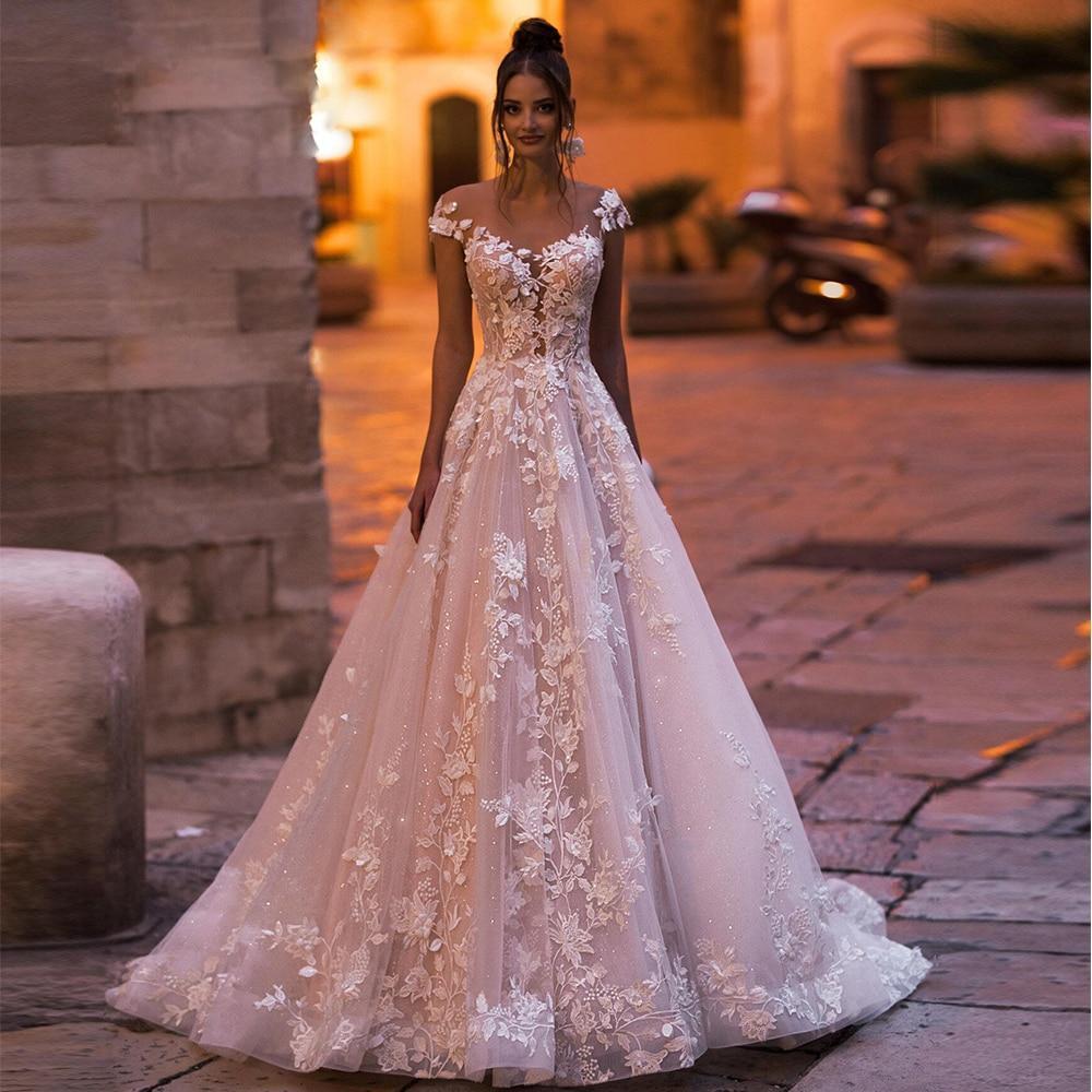 Ppliques lace flowers shiny wedding dresses aliexpress login vestidos de novia o neck cap sleeve