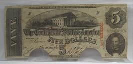 1863 (APR.) $5.00 Confederate Note, Cancelled (DEC.) Fine C325 - $43.47