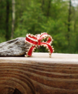 Vintage Ribbon Bow Pin Brooch, Red Enamel, Holiday - $1.00