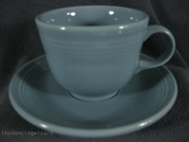 Fiesta Periwinkle Flat Coffee Cup and Saucer Homer Laughlin China Lead Free  - $14.95