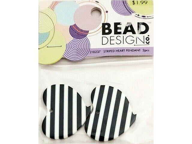 Black/WhiteBead Design Co. Striped Heart Pendant, 2 Pieces #210237
