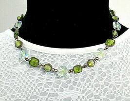 Lightweight Chartruese Green and Clear Glass Framed Bead Necklace - $8.00