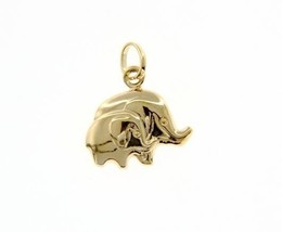 18K YELLOW GOLD MOTHER & SON ELEPHANT PENDANT CHARM 21 MM SMOOTH MADE IN ITALY image 1