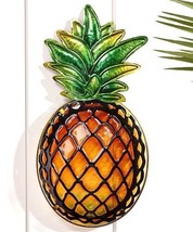 "18"" Pineapple Stained Glass Design Wall Plaque - Glass & Iron - $45.53"