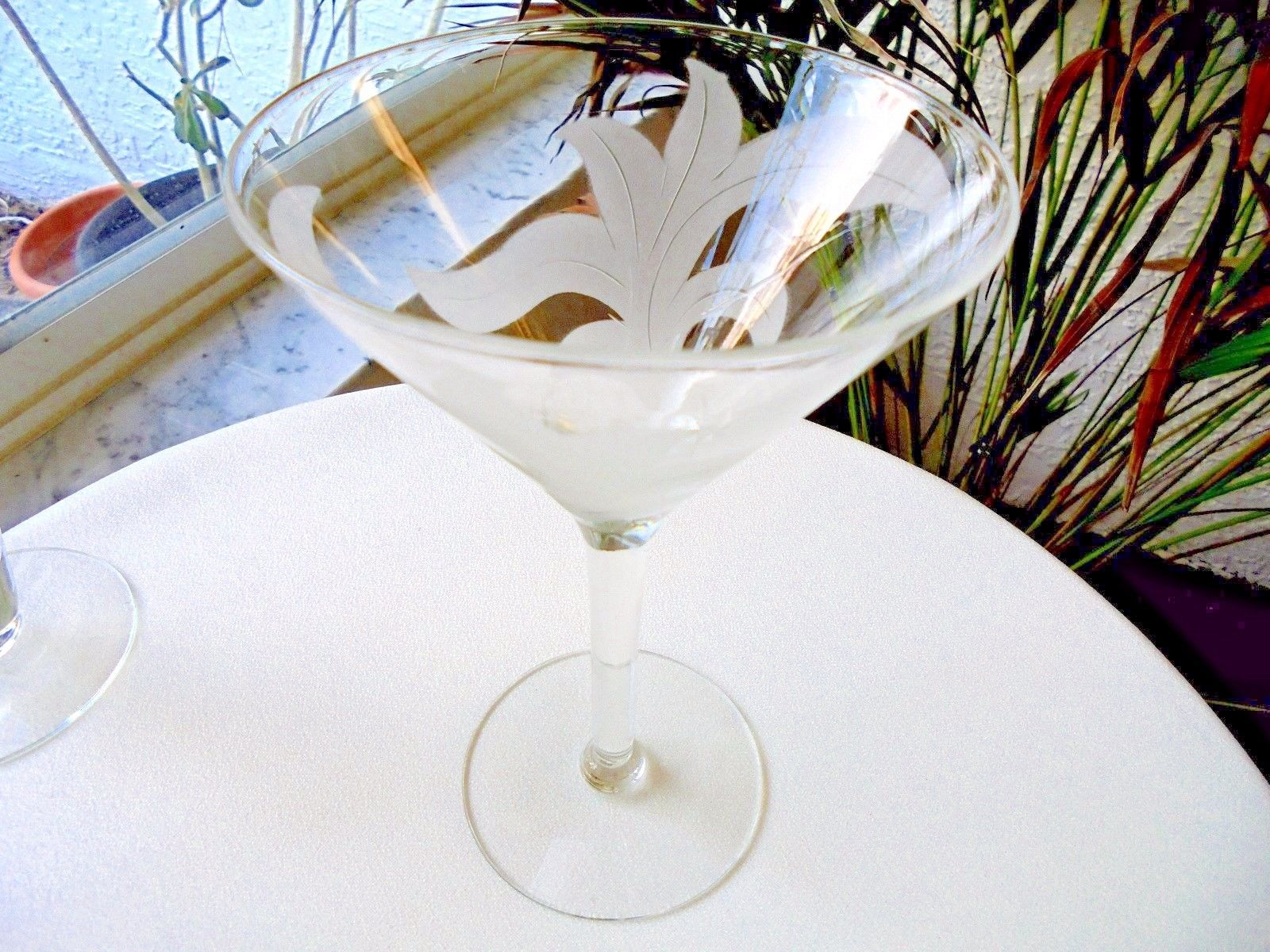 Primary image for Vintage Gray Cut Frosted Leaf Sherry Glass c1940's