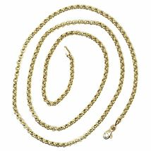 18K YELLOW GOLD ROLO CHAIN 2.5 MM, 18 INCHES, NECKLACE, CIRCLES, MADE IN ITALY image 3