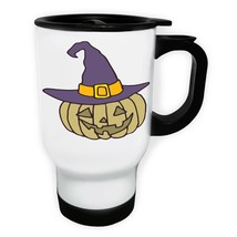 Crazy Halloween Pumpkin White/Steel Travel 14oz Mug q207t - $334,32 MXN