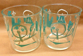 2 HAZEL ATLAS GLASSES 18oz EZ STORE JAR CLEAR & TURQOUISE SPINNING WHEEL... - $4.94
