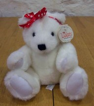 Wishpets MARSHMALLOW TEDDY BEAR W/ HEART BOW Plush Toy - $15.35