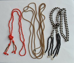 Antique/vtg lot 3 long beaded necklace sterling silver pearls '20s flapper deco - $44.54