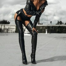 Women's PU Leather Over The Knee Boots Woman Thigh High Long Boots Ladies Zip... - $69.53+