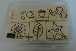 Stampin Up Simple Seasons Mounted Stamp Set 6 Fall Acorn Cherry Tulip Snowflake - $6.30