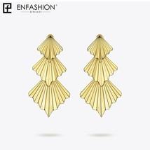 Triple Fan Drop Earrings For Women Big Gold Color Long Statement Earings Fashion - $30.49