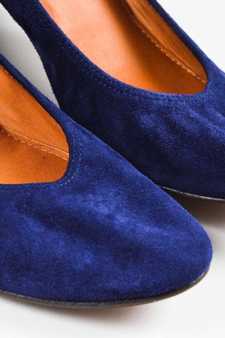 "Lanvin NWD ""Dark Blue"" Teal Suede Glitter Block Heel Ballerina Pump SZ 39.5"