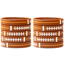 10 Football Theme Wristbands. Quality Debossed Color Filled Wrist Band Bracelets - $10.77