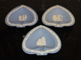 3 Vintage Wedgwood Jasperware Blue And White Pin Dish Trinket Plates - $44.00