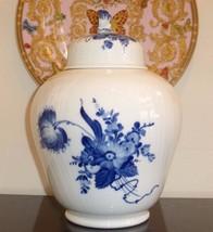"""ROYAL COPENHAGEN DENMARK 10/1791 11.5"""" BLUE FLORAL LIDDED GINGER JAR URN - $200.00"""