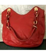 "Michael Kors Women's Beautiful Red Leather Shoulder Bag Purse 9"" x 10"" x 4"" - $74.89"