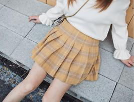 Wool-blend Red Plaid Skirt Women Girl Winter Plaid Skirt Outfit Plus Size Pleat image 8