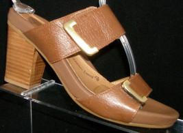 Sofft Damila brown leather hook and loop slide block stacked sandal heels 7M - $35.21