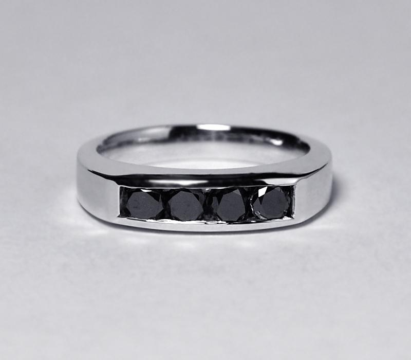 Custom Channel Set Natural Black Diamond Wedding Band Ring Women 14K White Gold