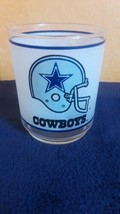 """DALLAS COWBOYS NFL / Mobil Frosted Drinking Glass (Approx. 3 3/4"""" x 3"""")  - $9.14"""