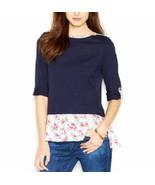Maison Jules Top Sz M Peacoat Blue Combo Cotton Rayon Hem Long Sleeve Sh... - €17,73 EUR