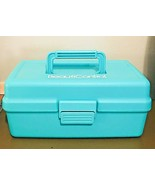 Vintage CABOODLES Teal Green Makeup Case Tiered With Compartments Beauti... - $16.83