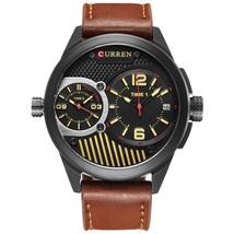 Curren Men's Leather Quartz Wrist Watch 8249 (Brown & Black) - $32.00