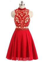 Lovely Short High Neck A-line Chiffon Rhinestone Homecoming Dress,Prom D... - $137.00