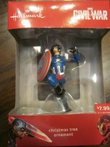 Hallmark 2016 Marvel Civil War Captain America Christmas Tree Ornament Brand New - $14.99