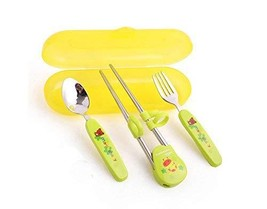 Panda Superstore Three-piece Children's tableware Fork&Spoon&Chopsticks(Green)