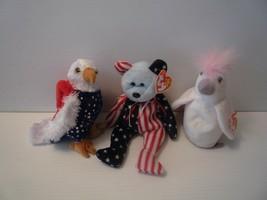 Ty Beanie Babbies Bear Spangle,Eagle Free & White Bird Kuku Set of 3 all... - $9.89
